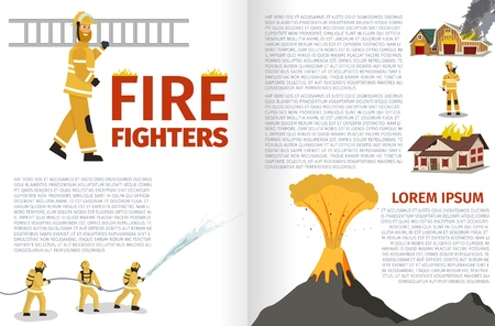 Vector Illustration Cartoon Fire Extinguishing. Banner image Fire Fighters. Fireman carries ladder. Group Men Extinguish Volcanic Eruption. Fireman calls reinforcements to smother Burning Houses