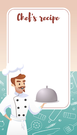 Culinary Concept Illustration Restaurant business. Banner Vector Cartoon Restaurant Chef on background Banner with Recipe Cooking dishes. Illustration dish Recipe Banner.