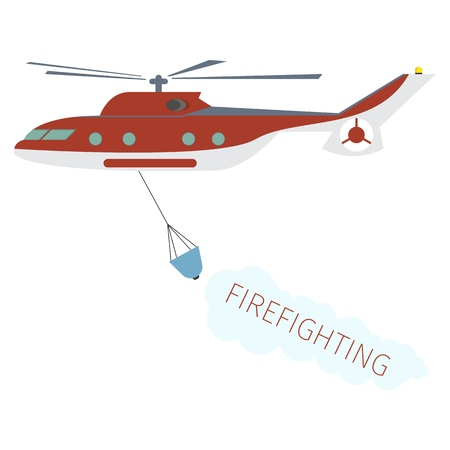 Concept image Firefighting Using Fire Helicopter. Vector Illustration Cartoon Fire fighting Water Helicopter Isolated on White Background. Red Fire brigade rescue Helicopter. Firefighting Concept