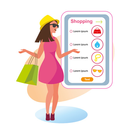 The Concept girlfriends Shopping in the Style Shop. Vector Illustration of Cartoon young Girl with Purchases hand. Online Purchase of clothing Accessories using mobile phone. Isolated White Background  イラスト・ベクター素材