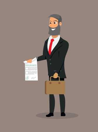 Vector Illustration Cartoon Property Insurance. Smiling Insurance Agent holds in his Hand an Insurance Policy. Concept of Life Insurance and personal Poperty. Safety own Investments Zdjęcie Seryjne - 127678877