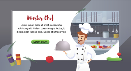 Culinary Concept Illustration Restaurant Business. Banner Vector Cartoon character Master Shef Cook holding ready dish for issuing Restaurant visitor against background their Workplace  イラスト・ベクター素材
