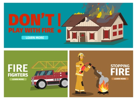 Vector Illustration Cartoon Fire Extinguishing. Set Banner image Fire fighting concepts. Dont Play With Fire, burning House. Fire Fighters, Firetruck. Stopping Fire, Firefighter fire Extinguisher  イラスト・ベクター素材