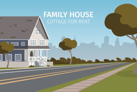 The Concept of Family House Cottage For Rent. Vector Illustration of Cartoon Renting a family House for the Summer. Seasonal Life of life Outside the metropolis. Fresh air