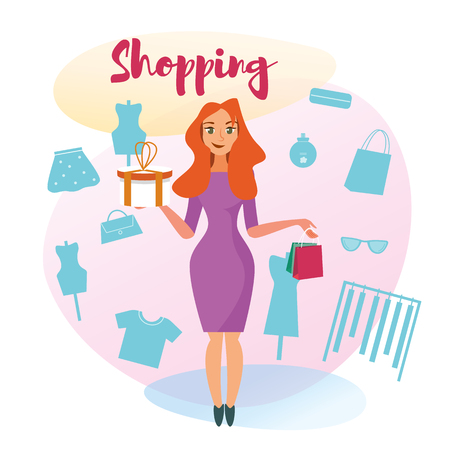 The Concept girlfriends Shopping in the Style Shop. Vector Illustration of Cartoon Happy Girl in Dress with Purchases. Isolated on White Background. Silhouettes of Clothes, Mannequin, Accessories  イラスト・ベクター素材