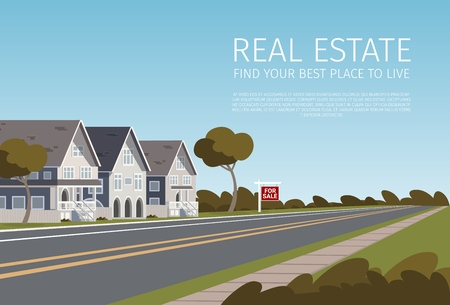 Real Estate Find your Best Place to Live. Banner Vector Illustration of Cartoon Real Estate a Family House for the Summer. The Concept living Outside the City Townhouse. Fresh air