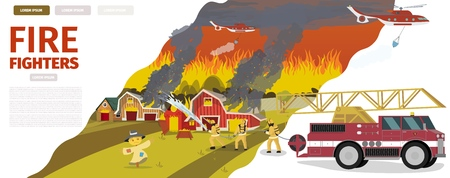 Vector Illustration Cartoon Fire Extinguishing. Banner image Fire Fighters. Group Men Firefighters Extinguishes fire on farm with Hose with Water. Auxiliary Fire Equipment, Helicopter, Fire Truck