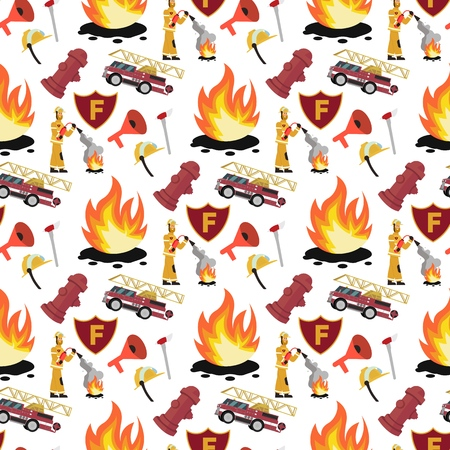 Vector image Pattern Firefighter and Fire Truck. Set Vector illustration Cartoon Seamless image Firefighter with Fire Extinguisher and Fire engine Isolated on White Background. Concept gift Wrapping  イラスト・ベクター素材