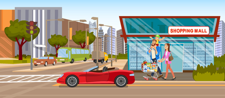 The Concept Shopping Mall downtown on the Road. Vector Illustration of Cartoon Happy Family going to the grocery Store. Full food Shopping cart. Red Car Cabriolet on the background of a Supermarket Ilustracja