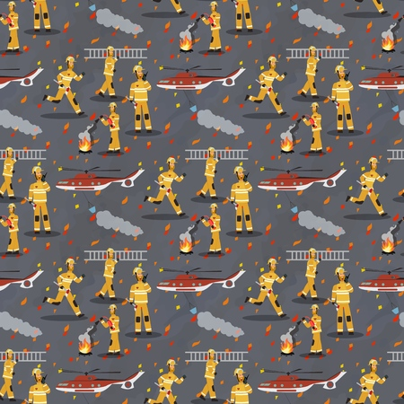 Vector image Pattern Group Firefighter Helicopter. Set Vector Illustration Cartoon Seamless image Group Firefighter Work and Helicopter Isolated on Gray Background. Concept gift Wrapping, cards Zdjęcie Seryjne - 127678890