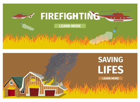 Vector Illustration Cartoon Fire Extinguishing. Set Banner image Fire Fighting Concepts. Fire Fighting, two Fire Helicopters Extinguish Flame ridden Field. Saving lifes, House in Flames.