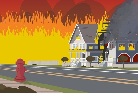 Vector Illustration of Cartoon Fire Extinguishing. Image Wooden House on Fire. Concept Fire House. Insurance Case. Not Careful Handling Fire. Cottage Town Located on Road. Fire Hydrant
