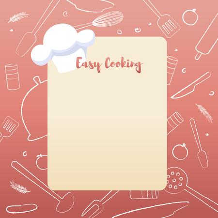 Culinary Concept Illustration Restaurant business. Banner Vector Illustration Cartoon notes on easy Cooking with Ingredients at hand. Chefs easy Cooking Recipe with product items
