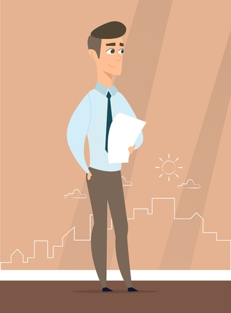 A man stands against the silhouette of the city. Vector illustration of working cartoon characters in coworking studio. The concept of construction, architecture, design
