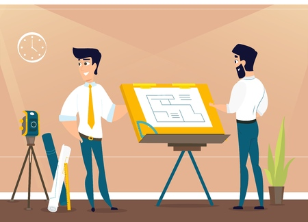 Architects is working on the project the premises. Vector illustration of working cartoon characters in coworking studio. The concept of construction, architecture, design, workplace Vettoriali