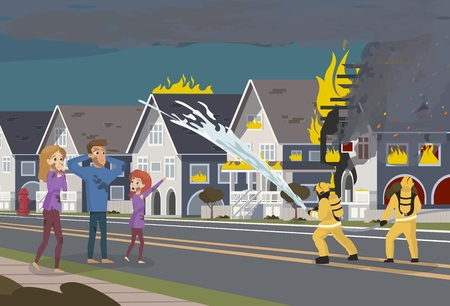 Vector Illustration Cartoon Fire Extinguishing. An image Group of Male Firefighters. Firefighters Extinguish Building with Water with Hose. Family worries about their Townhouse on Fire Illustration