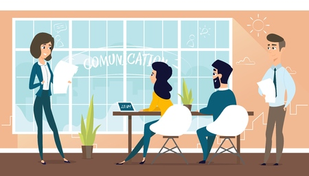 Architect discusses the project with the customer. Banner vector illustration of working cartoon characters in coworking studio. The concept of construction, architecture, design