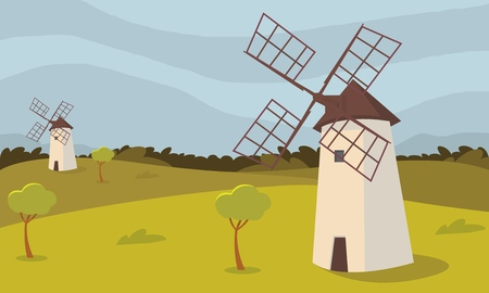 Vector concept image farming rural landscape. Vector illustration of a cartoon windmill standing in the middle of a wheat field of agriculture. The concept of clean living far from the metropolis