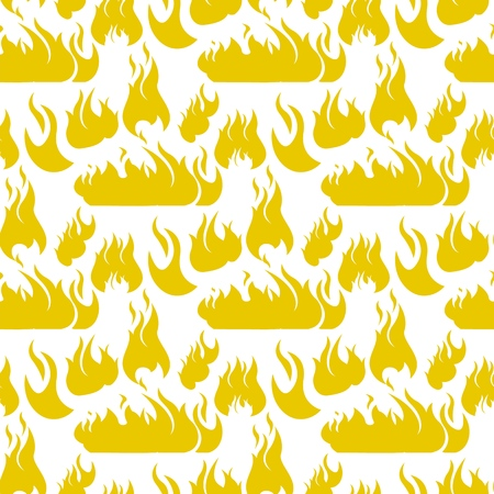 Vector image Pattern Set Fire Flame Silhouettes. Set Vector Illustration Cartoon Seamless image Silhouettes different Shape Yellow Flame ire Isolated on White Background. Concept gift Wrapping, cards