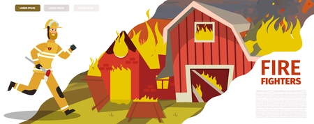 Vector Illustration Cartoon Fire Extinguishing. Banner image Fire Fighters. Fireman rushes to Rescue farm residents. Axe in hand Firefighter working tool. Concept of saving life. Vectores