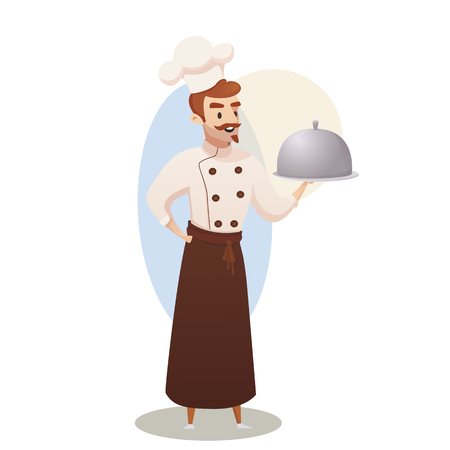 Concept illustration of the restaurant business. Vector illustration of a cartoon character shef cook holding a ready dish for issuing to a restaurant visitor in the isolated white background Zdjęcie Seryjne - 127678900