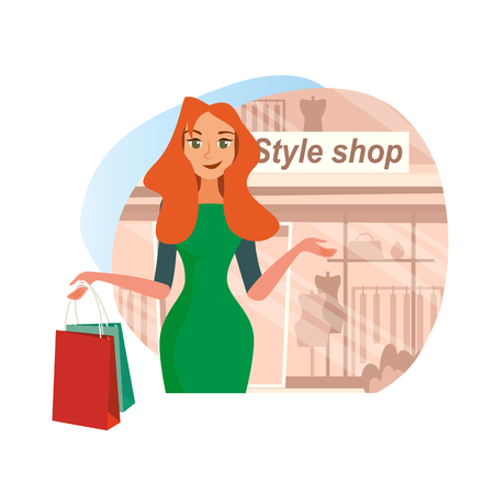 The Concept girlfriends Shopping in the Style Shop. Vector Illustration of Cartoon Happy Girl in Dress with Purchases. The girl on the Background of a shop window. Isolated on White Background. Ilustracja