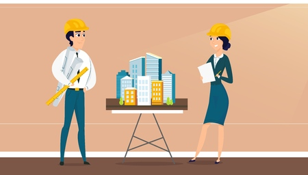 Group of architects with city architecture layout. Vector illustration of working cartoon characters in coworking studio. The concept of construction, architecture, design, workplace. Ilustracja
