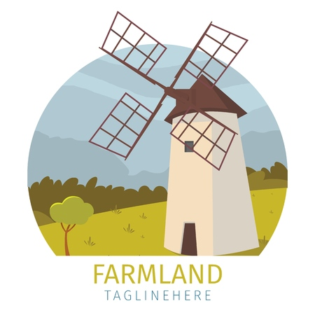 Vector image mill the outskirts of the village. Banner vector illustration of a cartoon mills in farmland located in the countryside outside the city. The concept of life in the distance civilization