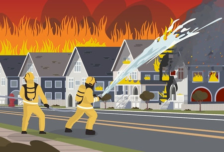 Vector Illustration Cartoon Fire Extinguishing. An image Group Male Firefighters. Firefighters Extinguish Townhouse with Water with a Hose. Fire fighting Concept. Saving City property