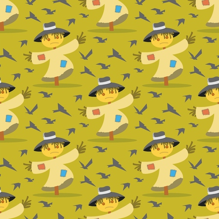 Vector image Pattern Scarecrow field Scare Birds. Set Vector Illustration Cartoon Seamless image Straw Scarecrow on field Scare Birds Isolated on Yellow Background. Concept gift Wrapping, cards Ilustracja