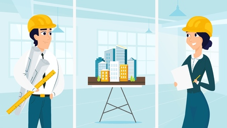Group of architects with city architecture layout. Vector illustration of working cartoon characters in coworking studio. The concept of construction, architecture, design Ilustracja