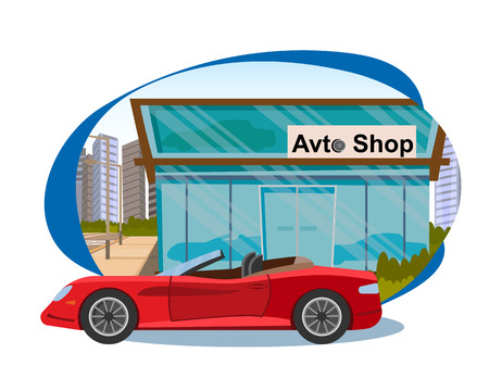 The Concept Sales of new Cars in Avto Shop. Vector Illustration of Cartoon red Car Cabriolet on the Background in Avto Shop. Car Showroom of new Cars Isolated on White Background Zdjęcie Seryjne - 127678907