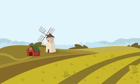 Vector concept image farming rural landscape. Vector illustration of a cartoon windmill standing on the outskirts of the village. The concept of clean living far from the metropolis
