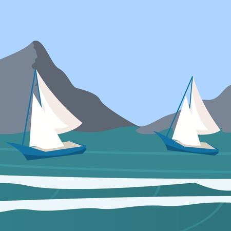 Vector picture yacht regatta off the coast. Vector illustration of a cartoon yacht regatta near the shore on a background of mountains. The concept of sports going to the ocean on a yacht. Sailing Zdjęcie Seryjne - 127678909