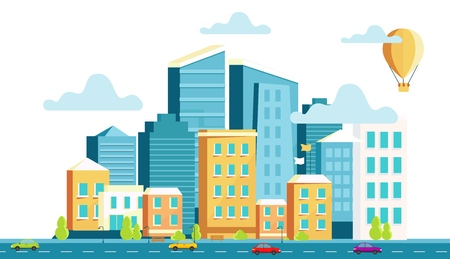 Landscape architecture of the modern city. Vector illustration of panorama of the city with skyscrapers, street, road with cars. The concept of construction, architecture, design.