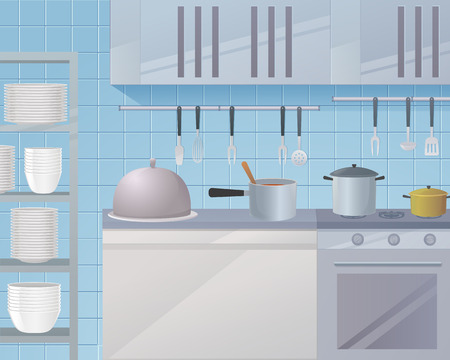 Concept illustration of the restaurant business. Vector illustration of a cartoon the working surface of the kitchen of the restaurant for cooking. Cookware and tools for work in the kitchen Ilustracja