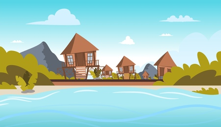 Vector image a village on the shore of a lagoon. Vector illustration of a cartoon villages with bungalow buildings on the lagoon bay. The concept of life in the distance civilization the fresh air