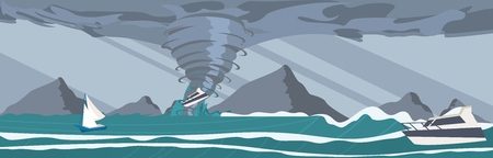 Vector picture the storm caught yachts the ocean. Vector illustration of a cartoon the strongest storm tornado raises the yacht into the sky with destructive force. The concept of natural disasters