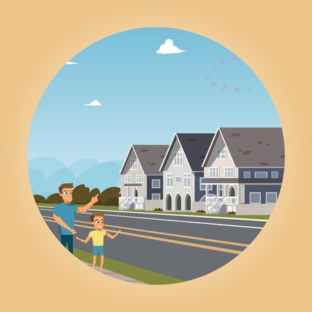 Vector image townhouse located outside the city. Vector illustration of cartoon family stand across the street from their new townhouse home. Happy family in new residential area of the city