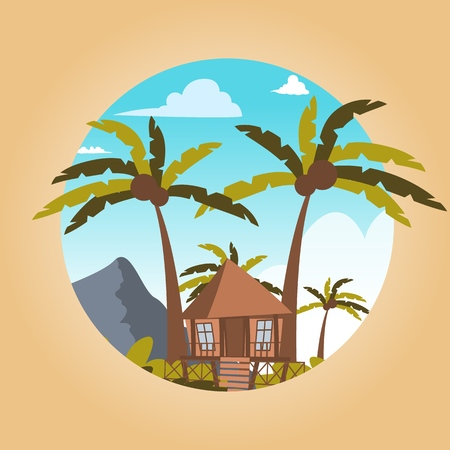 Vector drawing image the bungalow located island. Vector illustration of a cartoon villages with bungalow buildings the lagoon bay. The concept of life the distance civilization the fresh air  イラスト・ベクター素材