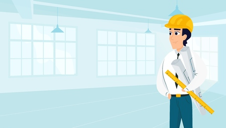 Male architect with drawings in empty room. Vector illustration of working cartoon characters in coworking studio. The concept of construction, architecture, design Ilustracja