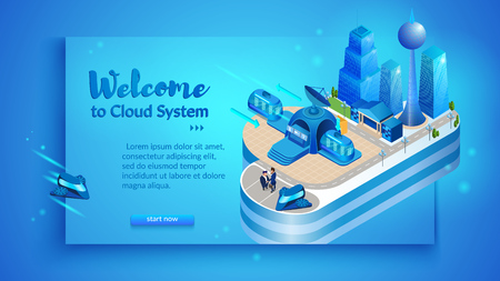 The concept of intelligent smart cloud city. Isometric projection of banner vector illustration of cloud management system of an intelligent city with buildings and infrastructure.