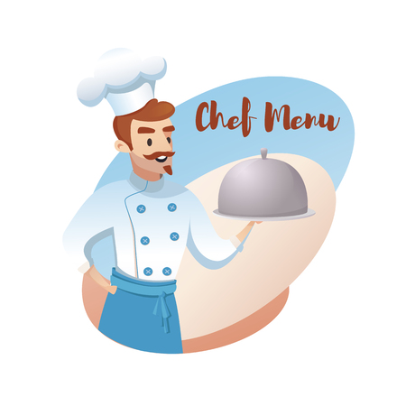 Concept illustration of the restaurant business. Banner vector illustration of a cartoon character chef showing a special from the chef menu. Chef cook on white background Ilustracja