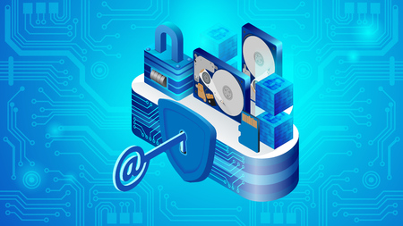 Concept of cloud datacenter system security. Isometric projection of vector illustration security of cloud storage technologies and personal information. Secure cloud storage
