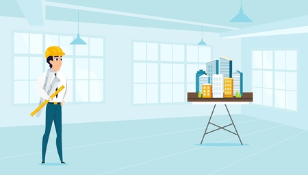 Man architect designs the architecture of the city. Vector illustration of working cartoon characters in coworking studio. The concept of construction, architecture, design. Ilustracja