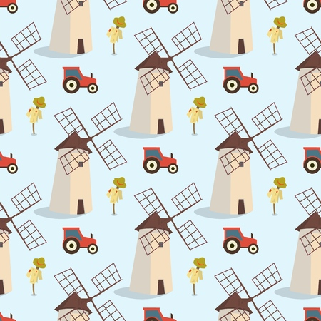 Set vector image pattern windmills and tractors. Vector illustration of seamless image of the sets windmills and tractors on a blue background. The concept of gift wrapping, cards, paper bags Zdjęcie Seryjne - 127678923