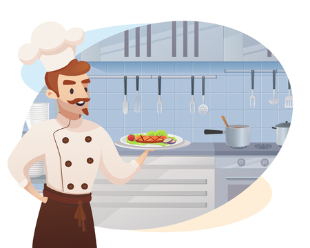 Concept illustration of the restaurant business. Vector illustration of a cartoon character shef cook holding a ready dish for issuing to a restaurant visitor against the background of their workplace