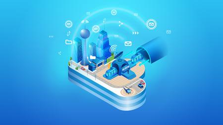 El concepto de ciudad inteligente en la nube inteligente. Proyección isométrica de la ilustración vectorial del sistema de gestión en la nube de una ciudad inteligente con edificios e infraestructura.