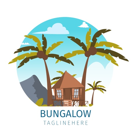 Vector drawing image the bungalow located island. Banner vector illustration of a cartoon villages with bungalow buildings the lagoon bay. The concept of life the distance civilization the fresh air