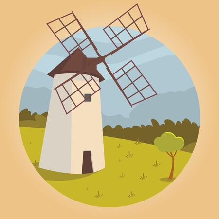 Vector image mill the outskirts of the village. Vector illustration of a cartoon mill standing on the outskirts of a village in a field. The concept of life in the distance civilization Ilustrace